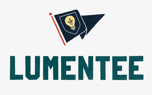 Lumentee logo with blue collegiate flag and yellow lightbulb