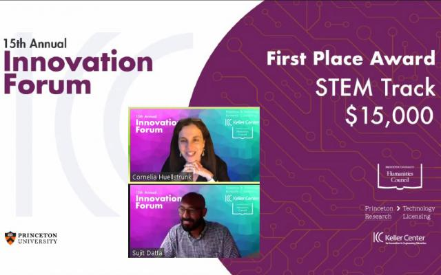 A slide announcing Sujit Datta as first place $15,000 Innovation Forum winner