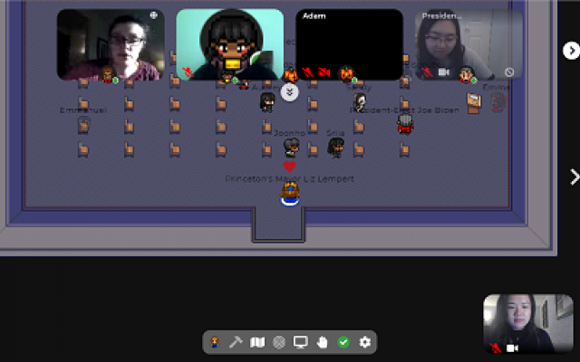 A screenshot of students interacting on the Gather platform