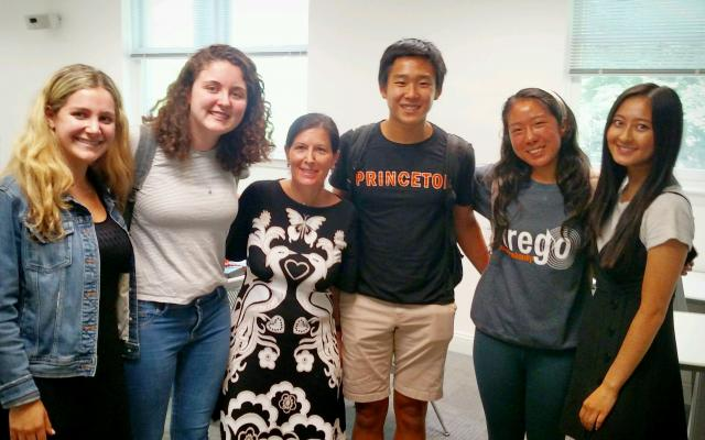 Ellen Siminoff '89 with students