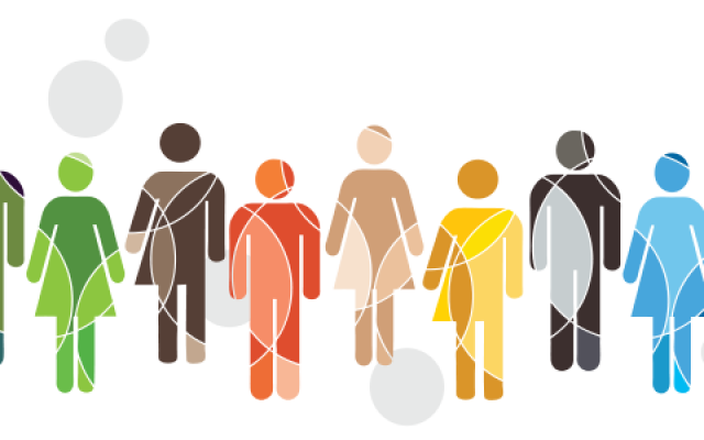 A decorative graphic representing diverse people
